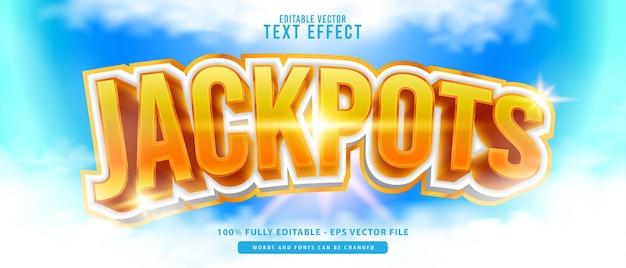 Jackpots, effet de texte de style rougeoyant or blanc 3d moderne modifiable de qualité supérieure, parfait pour l'impression, les produits alimentaires et les boissons ou les titres de jeux.