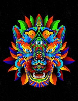 Jaguar aztèque coloré