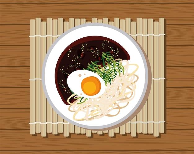 Jajangmyeon délicieux dans la table