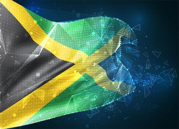 Jamaïque, drapeau vectoriel, objet 3d abstrait virtuel à partir de polygones triangulaires sur fond bleu