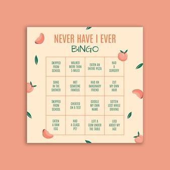 Jamais je n'ai jamais posté de bingo sur instagram