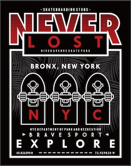 Jamais perdu, vector skateboard typographie illustration design graphique