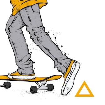 Jambes en baskets et skateboard