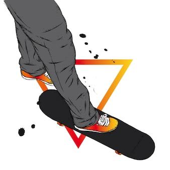 Jambes en baskets et skateboard.