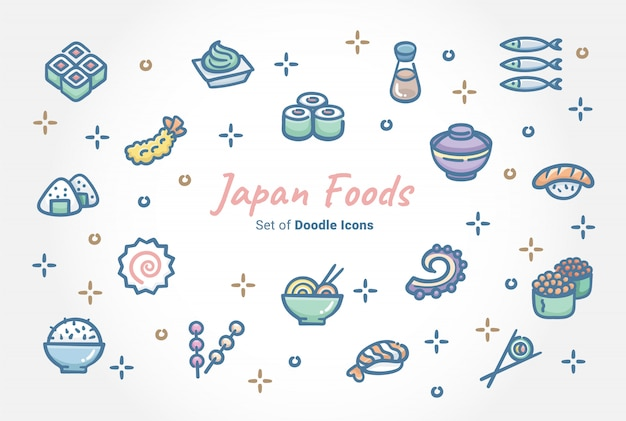 Japan foods doodle icon set