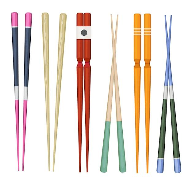 Japon bâton. ustensiles traditionnels colorés pour manger la collection de baguettes en bois de sushi de nourriture japonaise.