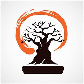 Japon bonsaï zen logo symbole illustration vectorielle
