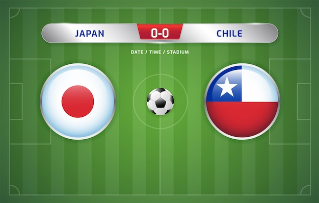 Le japon et le chili affichent le tableau d'affichage du tournoi de football sud-américain 2019, groupe c