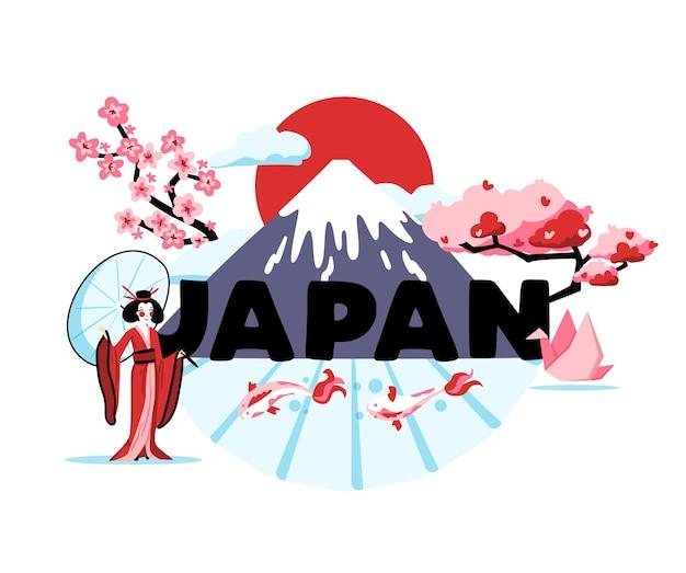 Japon, dessin animé, composition, de, traditions, de, soleil levant, pays, illustration