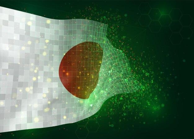 Le japon, sur le drapeau 3d vectoriel sur fond vert avec des polygones et des numéros de données