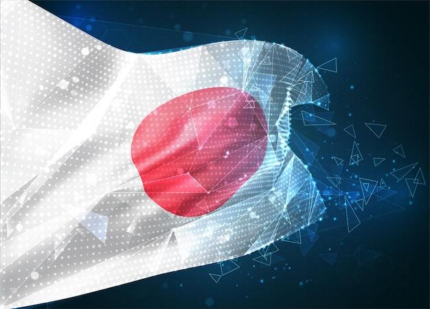 Japon, drapeau vectoriel, objet 3d abstrait virtuel à partir de polygones triangulaires sur fond bleu