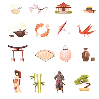 Japon icônes de dessin animé rétro sertie de sanctuaire sakura geisha samurai origami bonsaï et bambou