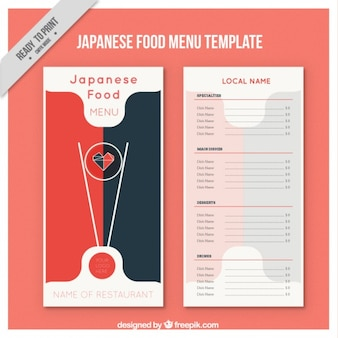Japonais modèle de menu alimentaire