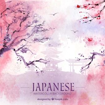 Japonaise fond d'aquarelle