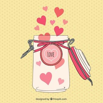 Jar avec des coeurs