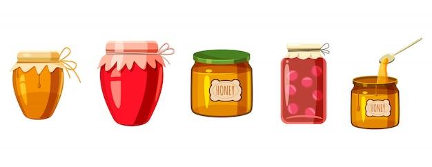 Jar éléments définis. ensemble de dessin animé de pot