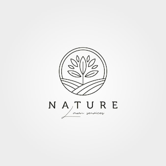 Jardin arbre paysage logo vecteur symbole illustration design, création de logo nature art ligne