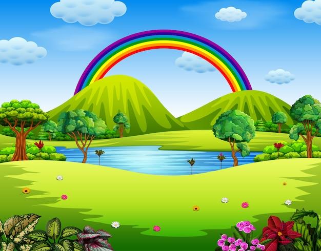 Jardin avec le bel arc-en-ciel