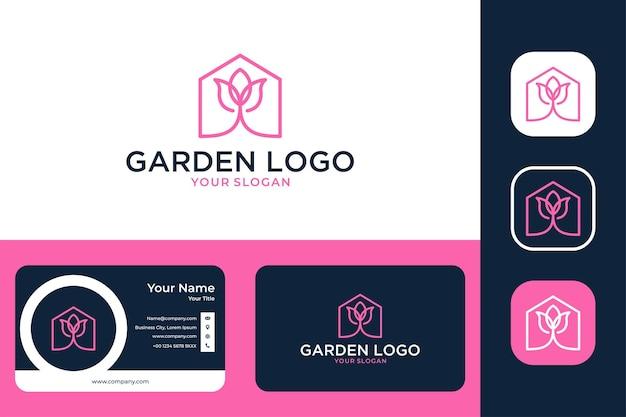 Jardin avec création de logo maison et rose et carte de visite