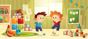 Jardin d'enfants d'âge préscolaire de dessin animé de vecteur avec des garçons