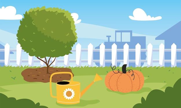 Jardin de ferme avec citrouille d'arbre et arrosoir, plantation de jardinage et nature
