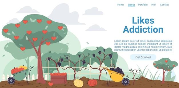 Jardin de fermiers plats de dessin animé, arbres avec des coeurs semblables
