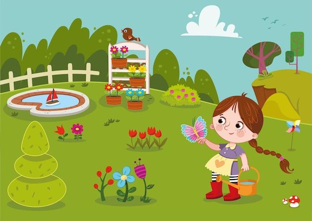 Jardin Fleuri Et Petite Fille Vector Illustration Vecteur Premium