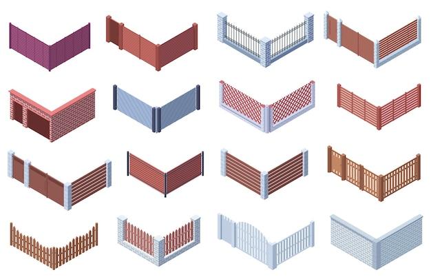 Jardin isométrique ou maison de banlieue clôtures de porte 3d. treillis en bois, en métal, clôtures en pierre, ensemble d'illustrations vectorielles. clôture de la cour, bordure de mur de brique avec entrée. zone privée