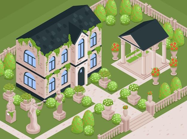 Jardin De Maison De Campagne Avec Parc Fleuri Et Plantes Vecteur Premium