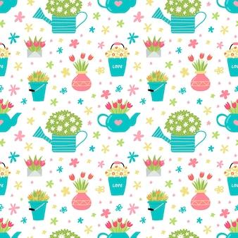 Jardin de printemps situé dans une illustration de style mignon dessiné à la main
