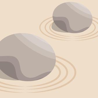Jardin zen avec pierre en sable