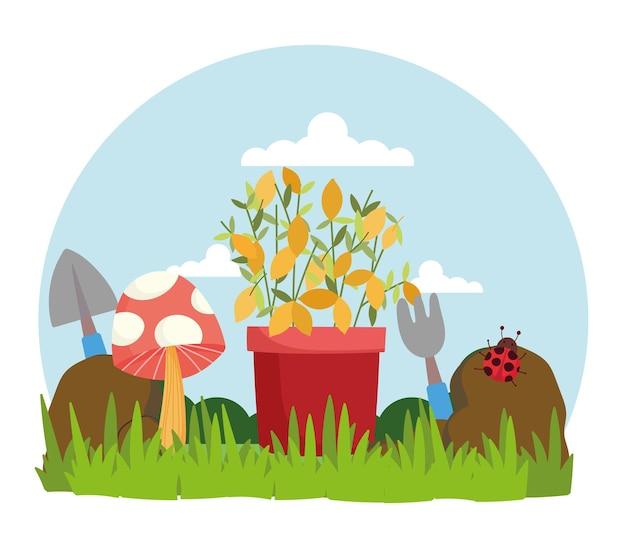 Jardinage champignon coccinelle plante en pot et outils sur l'illustration de l'herbe