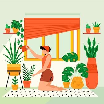 Jardinage design plat à la maison concept avec femme arrosage des plantes