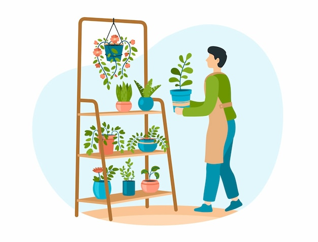 Jardinage domestique le personnage masculin prend soin des plantes d'intérieur