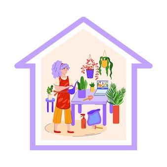Jardinage domestique en quarantaine - femme de dessin animé, arrosage des plantes d'intérieur