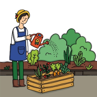 Jardinage à domicile illustré