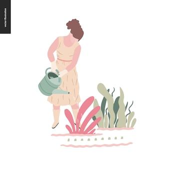 Jardinage d'été femme - illustration de vecteur plat d'une jeune femme vêtue d'une robe longue, des mitaines et des bottes, arroser une plante, concept d'autosuffisance