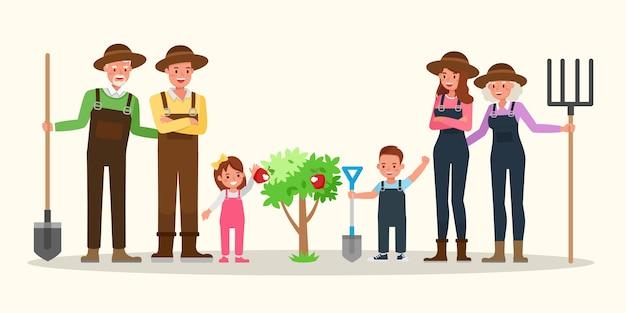 Jardinage familial heureux ensemble.