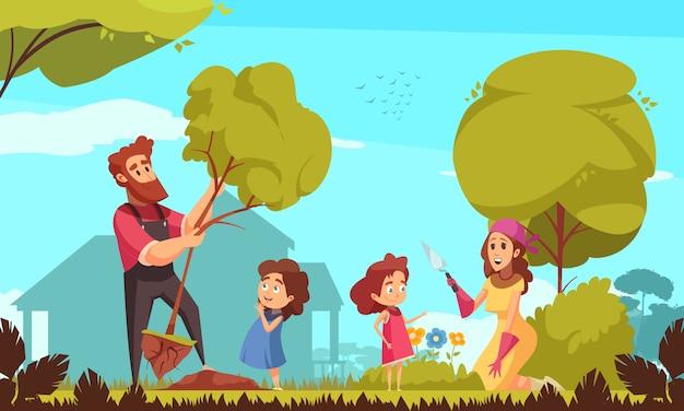 Jardinage familial parents avec enfants pendant la plantation d'arbres et soins des fleurs sur fond bleu