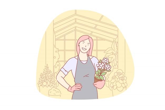 Jardinage, floral, organique, entreprise, illustration bénévole