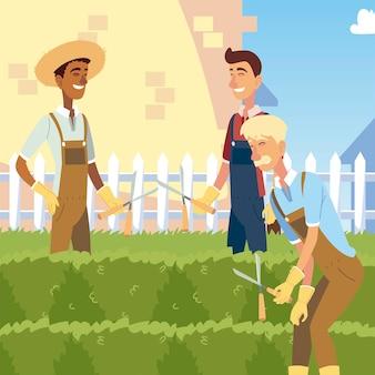Jardinage, groupe d'hommes taillant un buissons avec illustration de tondeuses