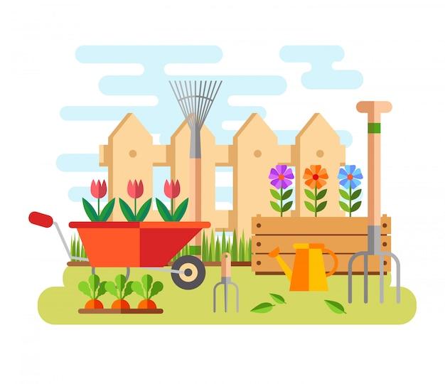 Jardinage et horticulture, outils de loisir, caisse de légumes et plantes.