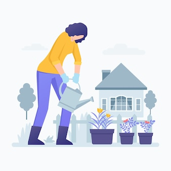 Jardinage à la maison illustration avec femme arrosage des plantes