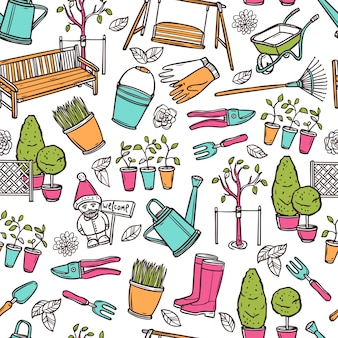Jardinage seamless pattern