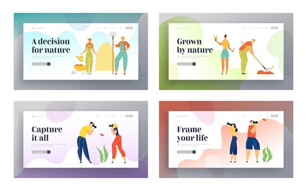 Jardinage, soin des plantes et photographie de personnes ensemble de pages de destination du site web