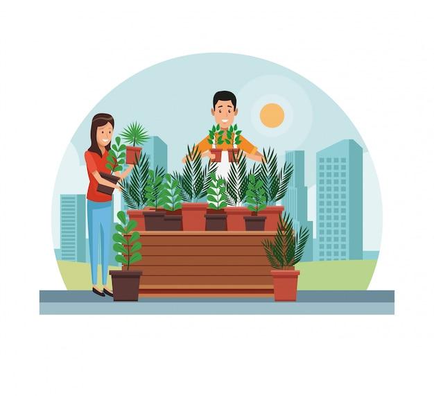 Jardiner faire du shopping en ville