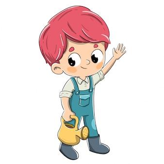 Jardinier garçon avec un arrosoir