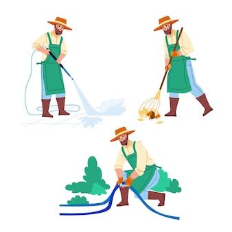 Jardinier homme métier agricole set vector. jardinier enlevant le feuillage, fixant le tuyau et l'usine d'arrosage dans le jardin ou lavant la cour. caractère agriculture entretien plat cartoon illustrations