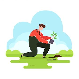 Jardinier homme plantant