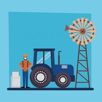 Jardinier homme tracteur moulin à vent et lait peut concevoir